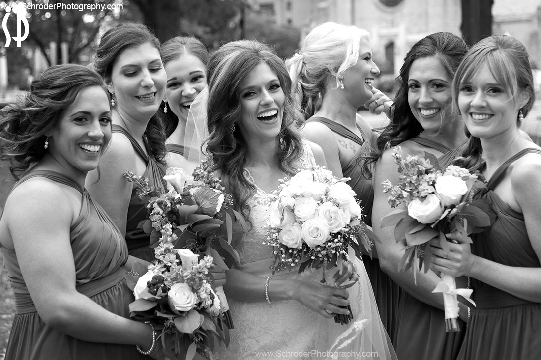 Amanda and her bridal party having a good time