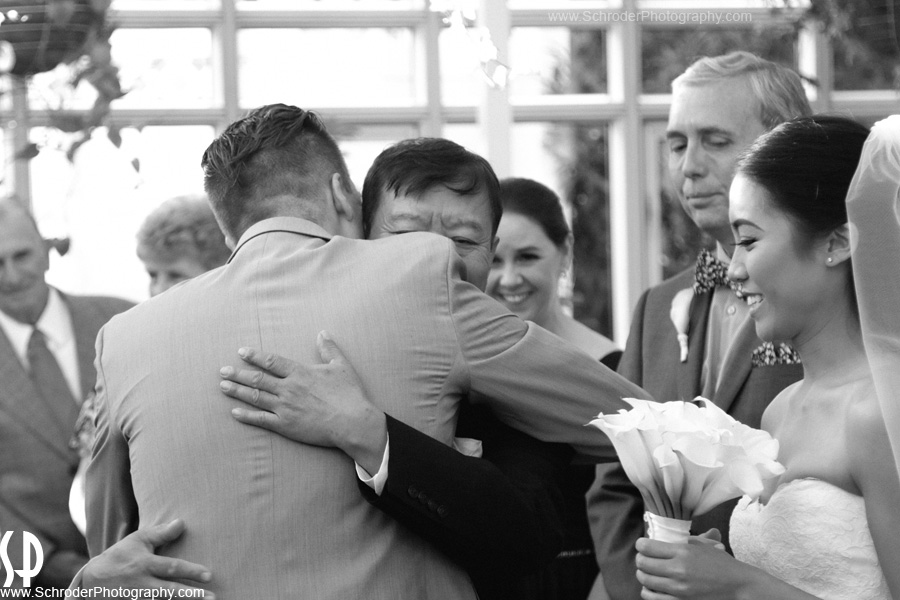 A Hug at the start of the ceremony