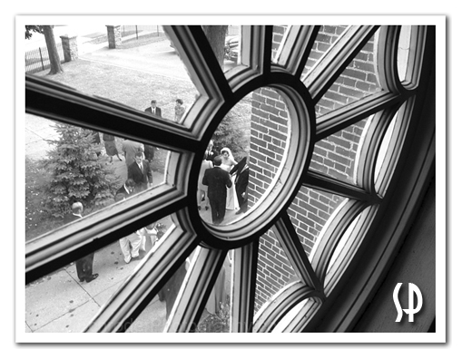 Wedding Photo through window at Church