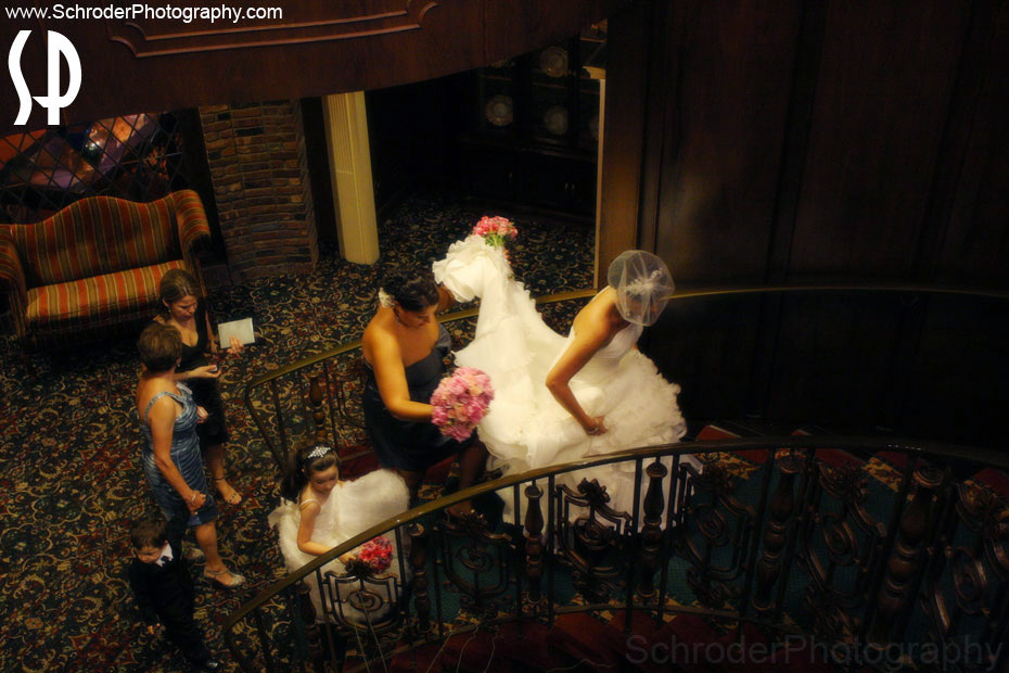 The main stairs gives access from the bridal suite to one of the reception areas.