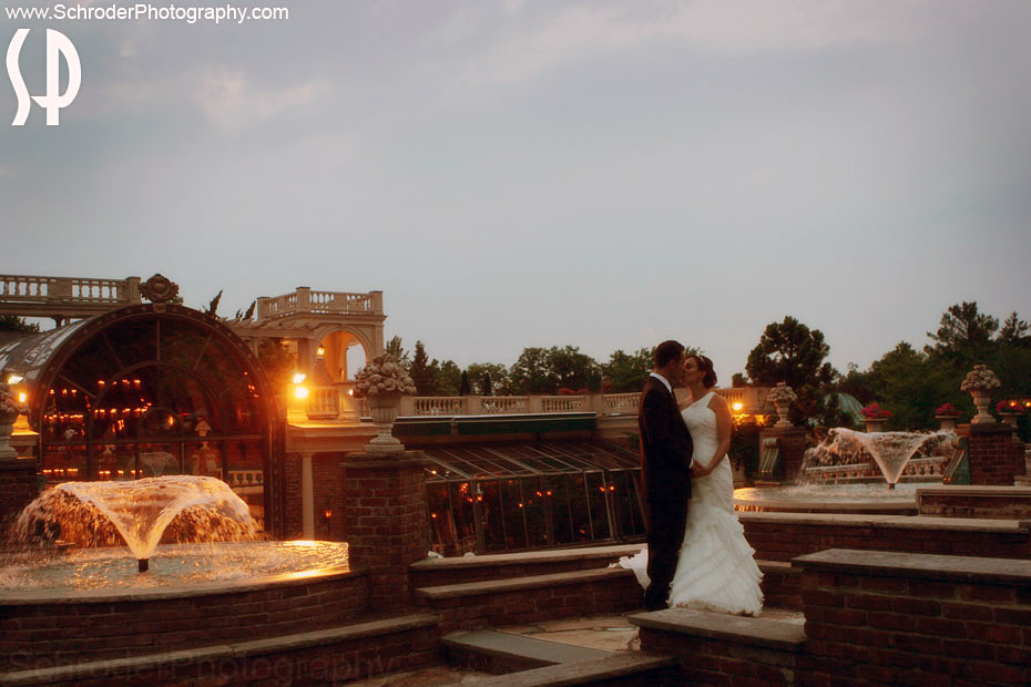 This spot in The Manor is surrounded by fountains and is a great spot for photos of the newlyweds.
