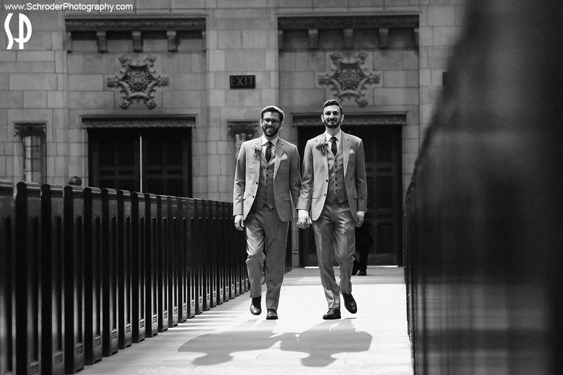 Ryan and Quinton entering the Church for their ceremony in Princeton