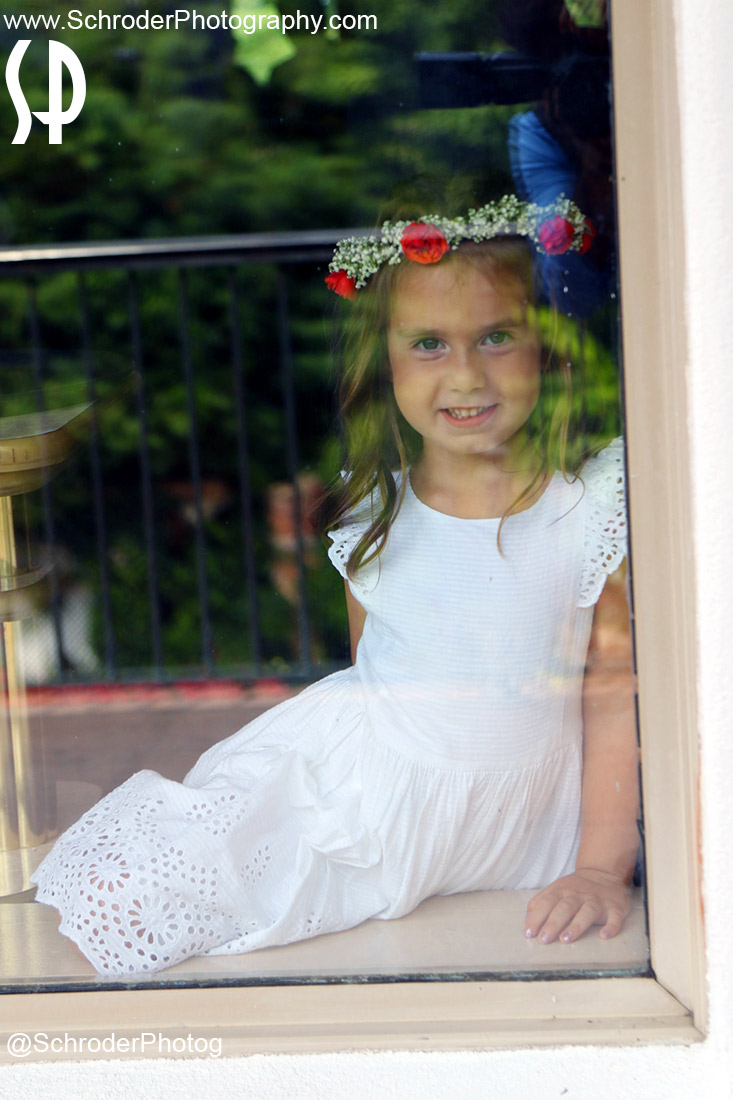 The flower girl through a window...