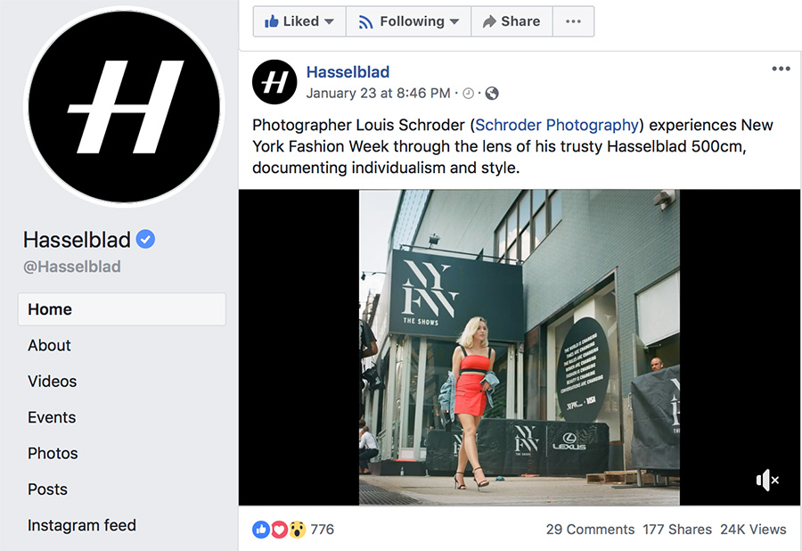 On Hasselblad's Facebook Page